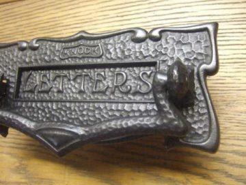 Art Nouveau Cast Iron Door Knocker And Combination Letterbox