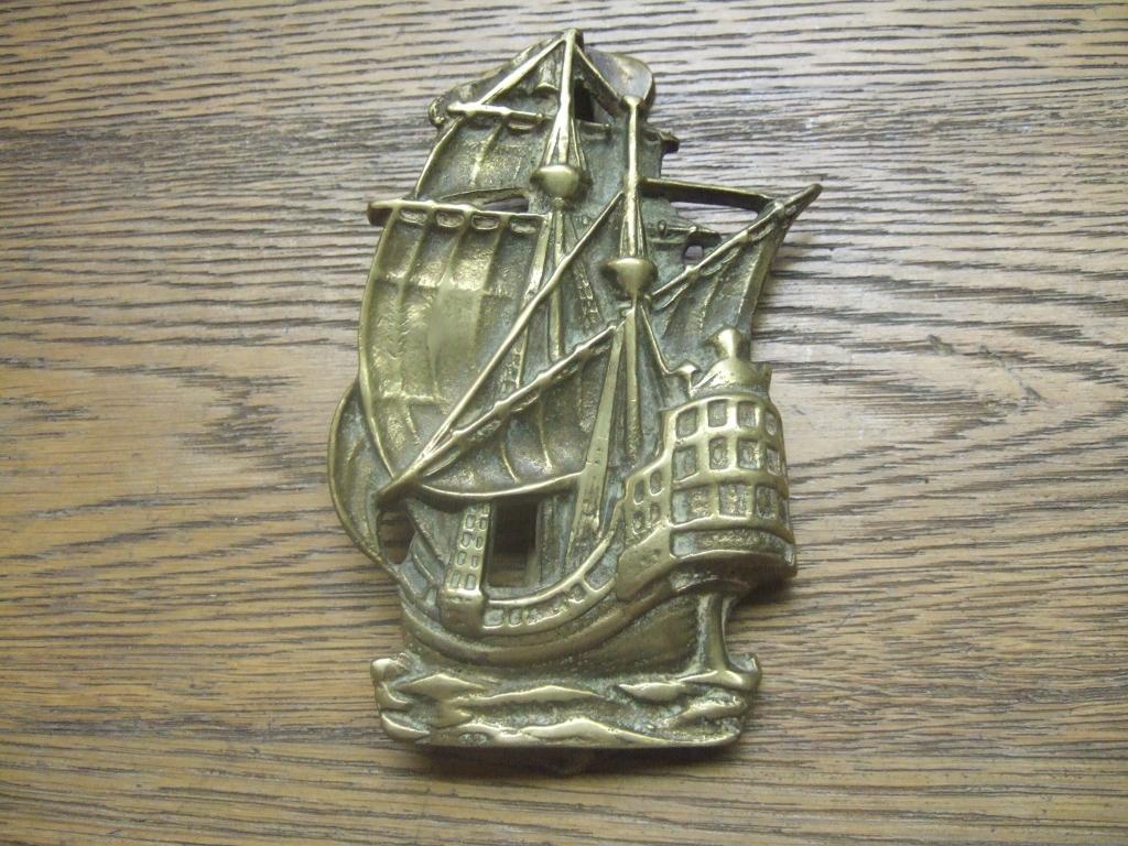 D071 galleon brass antique door knocker antique door knockers - Antique brass door knocker ...