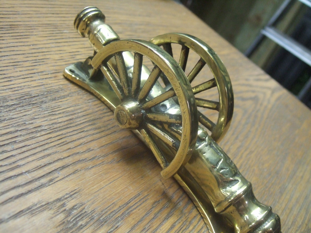 D084 brass cannon door knocker antique door knockers - Antique brass door knocker ...