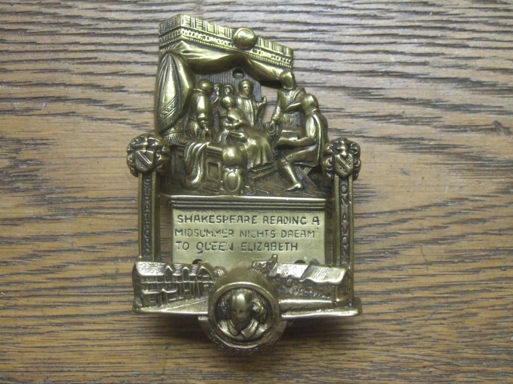 D129 shakespeare antique brass doorknocker antique door knockers - Antique brass door knocker ...