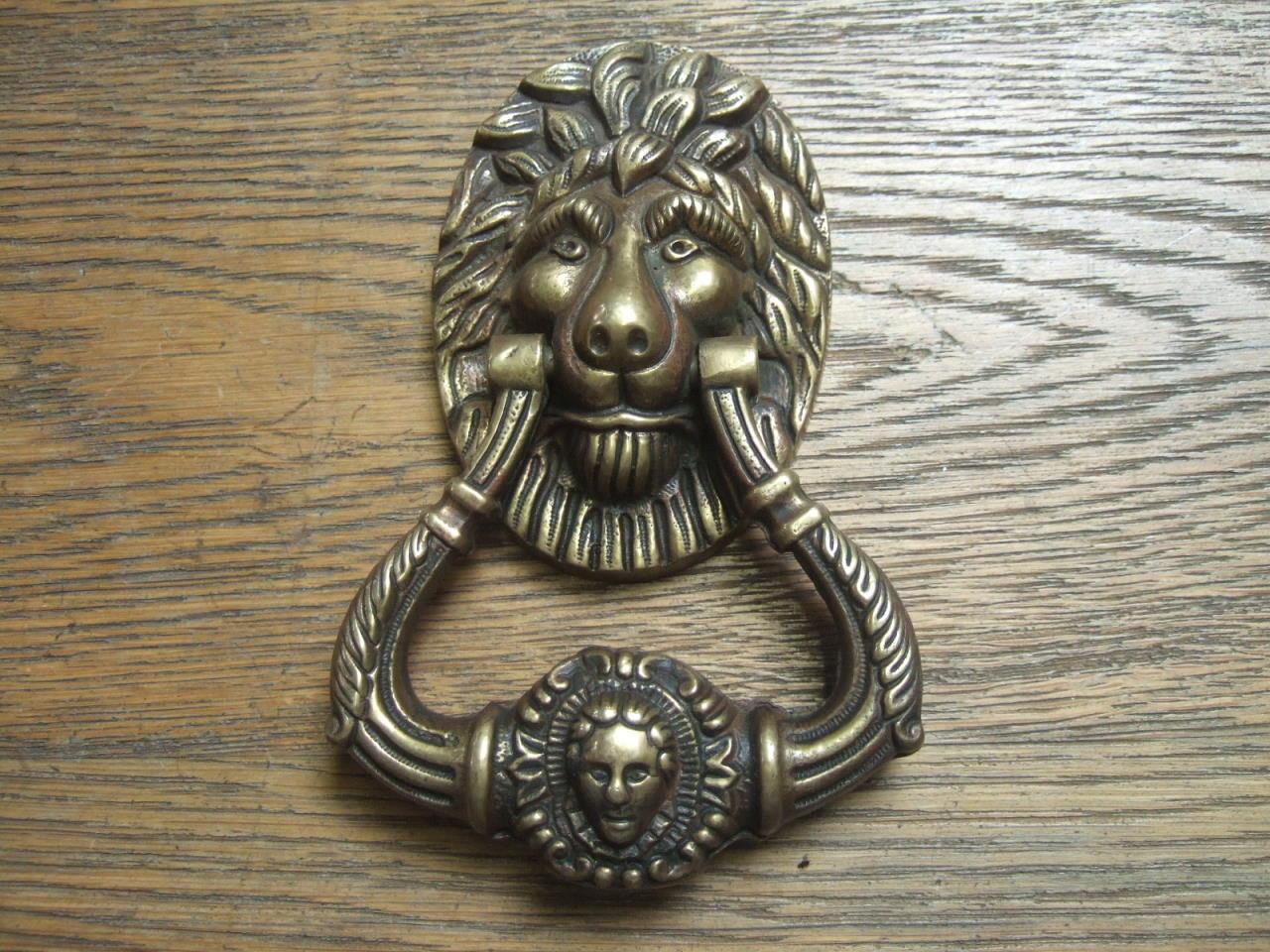 D234 lions head door knocker antique door knockers - Antique brass lion head door knocker ...