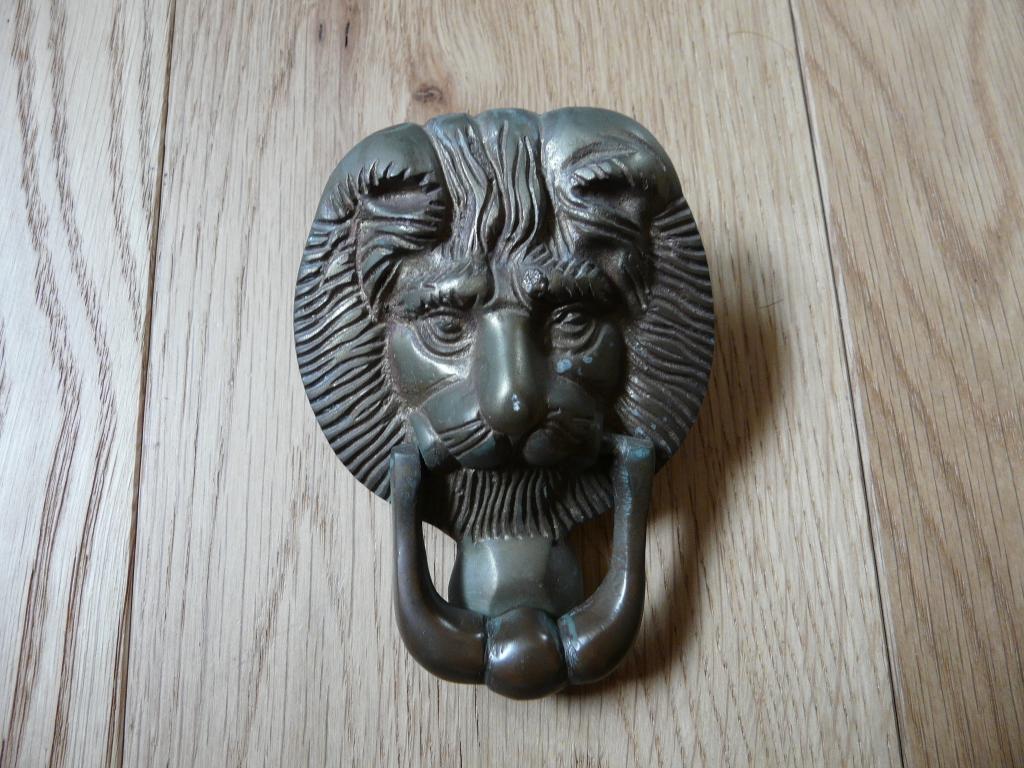 D016 0814 reclaimed brass lion head doorknocker antique door knockers - Antique brass lion head door knocker ...