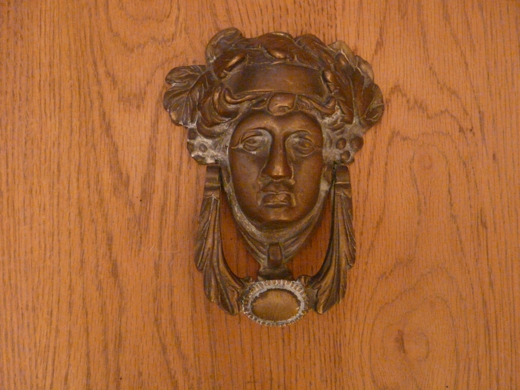 D150 1215 dionysus brass door knocker antique door knockers - Antique brass door knocker ...