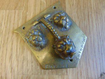 Antique Brass Shropshire Coat of Arms Door Knocker D096-0918 Antique Door knockers.