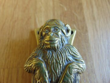 Antique Brass Chimpanzee Door knocker D479-1018 Antique Door Knocker Company.