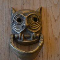 Antique Brass Mask Door Knocker D513-1219 Antique Door Knocker Company