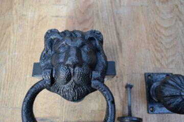 Cast Iron Georgian Lion Door Knocker Furniture Set D267L-0220 Antique Door Knocker Company