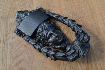 Antique Cast Iron Dionysus Door Knocker D344L-0220 Antique Door Knocker Company