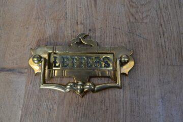 Brass Combination Art Nouveau Letterbox & Door Knocker D465-0220 Antique Door Knocker Company
