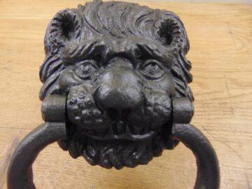 Original Cast Iron Lion Door Knocker D350L-0720 - Antique Door Knocker Co